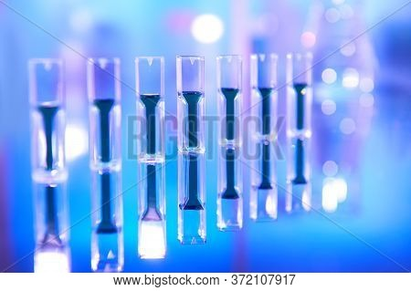 Scientific Background In Vibrant Neon, Purple And Blue. Pharma, Biotech, Protein Analysis, Protein C