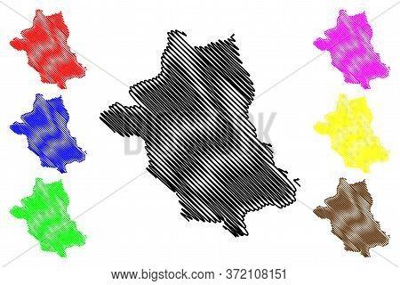 Zhemgang District (districts Of Bhutan, Kingdom Of Bhutan) Map Vector Illustration, Scribble Sketch