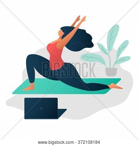 Body Positive Concept. On-line Yoga And Wellness Concept. Happy Yoga Plus Size Girl. Attractive Over