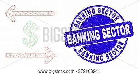 Web Mesh Dollar Exchange Arrows Icon And Banking Sector Watermark. Blue Vector Rounded Textured Wate