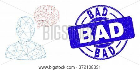 Web Carcass Person Arguments Pictogram And Bad Seal Stamp. Blue Vector Round Grunge Seal Stamp With
