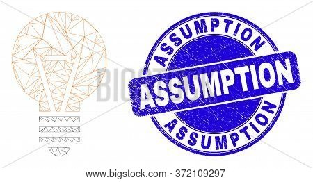 Web Mesh Electric Bulb Pictogram And Assumption Seal. Blue Vector Rounded Textured Stamp With Assump