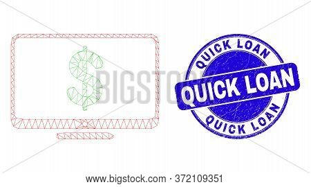 Web Mesh Financial Display Pictogram And Quick Loan Watermark. Blue Vector Round Distress Watermark