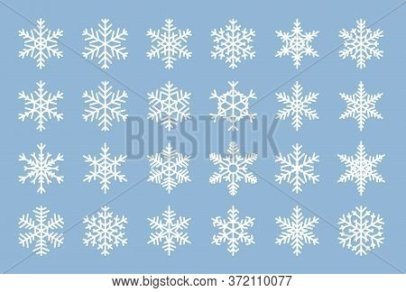 Snowflakes Flat Set. Different Shape Snow Icons. Winter Ice Crystal. Christmas Symbol Ornament. Fros