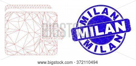 Web Mesh Purse Pictogram And Milan Seal Stamp. Blue Vector Rounded Textured Seal With Milan Caption.