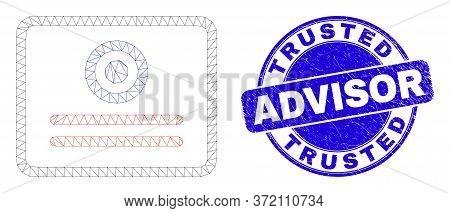 Web Carcass Certificate Pictogram And Trusted Advisor Seal Stamp. Blue Vector Rounded Grunge Seal Wi