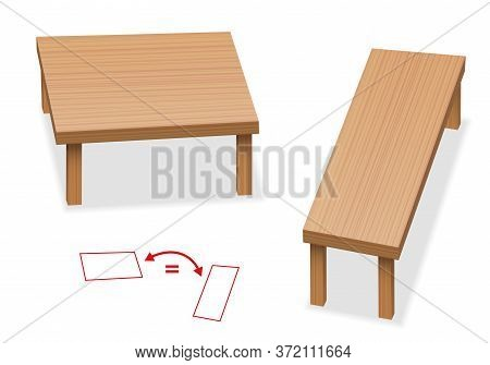 Optical Illusion - Two Tables With Exactly The Same Size Of Tabletop - Relative Size Perception. The