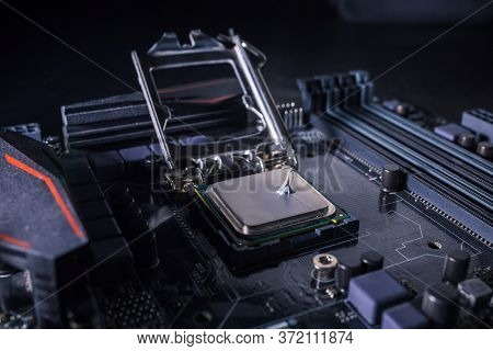 Thermal Grease Paste On Computer Processor Chip. Thermal Compound On On Pc Cpu. Cooling Upgrade Conc