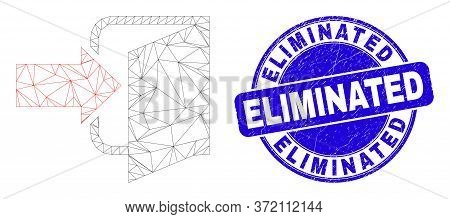Web Mesh Exit Door Icon And Eliminated Seal Stamp. Blue Vector Rounded Textured Watermark With Elimi
