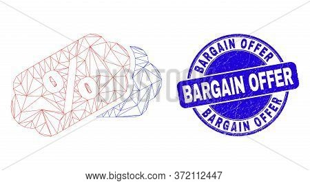 Web Carcass Percent Tags Icon And Bargain Offer Seal. Blue Vector Round Grunge Stamp With Bargain Of