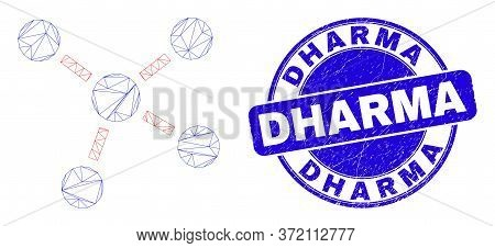 Web Mesh Connections Icon And Dharma Watermark. Blue Vector Rounded Distress Watermark With Dharma P