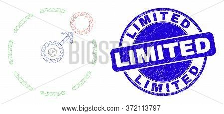 Web Carcass Move To Circle Perimeter Icon And Limited Seal Stamp. Blue Vector Rounded Grunge Seal St