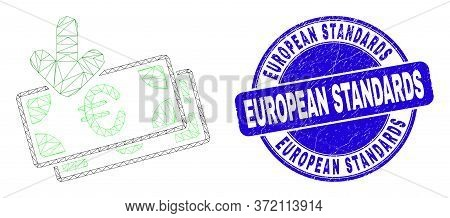 Web Mesh Euro Banknotes Income Icon And European Standards Seal Stamp. Blue Vector Rounded Distress