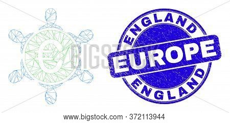 Web Carcass Euro People Company Icon And England Europe Seal Stamp. Blue Vector Round Distress Seal
