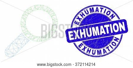 Web Carcass Magnifier Tool Icon And Exhumation Seal Stamp. Blue Vector Rounded Textured Seal With Ex