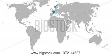 France, Norway Countries Isolated On World Map. Light Gray Background. Business Concepts, Background