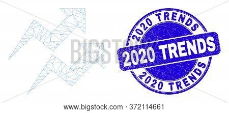 Web Carcass Trend Arrows Pictogram And 2020 Trends Seal Stamp. Blue Vector Round Distress Seal Stamp