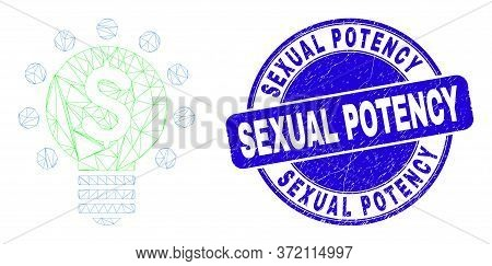 Web Mesh Dollar Light Bulb Icon And Sexual Potency Stamp. Blue Vector Rounded Scratched Seal Stamp W