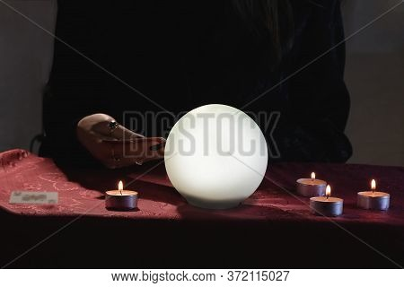 Prediction Of The Future, Clairvoyant. Fortune Teller With Cards And Crystal Ball