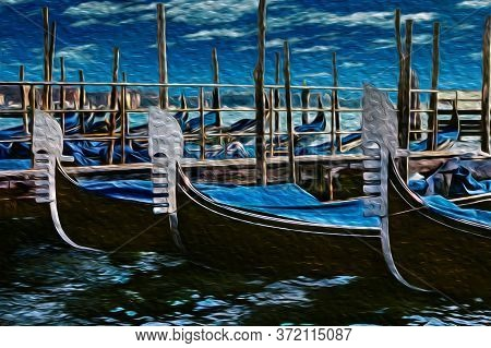 Close-up Of Gondolas Prow Decorated In Traditional Way Moored On Pier, In A Sunny Day At Venice. The