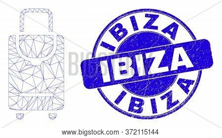 Web Mesh Voyage Luggage Pictogram And Ibiza Seal. Blue Vector Rounded Scratched Seal With Ibiza Titl