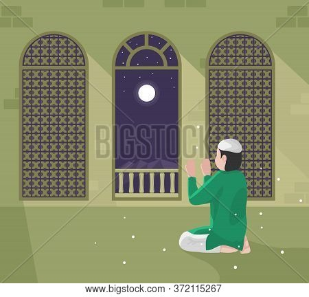 Vector Illustration Of Muslim Praying In The Mosque At Night, With Decoration Patterns In The Window