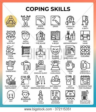 Coping Skills Concept Line Icons Set In Modern Style For Ui, Ux, Web, App, Brochure, Flyer And Prese