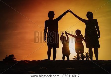 Parents Making Home For Kids At Sunset Beach, Family Care