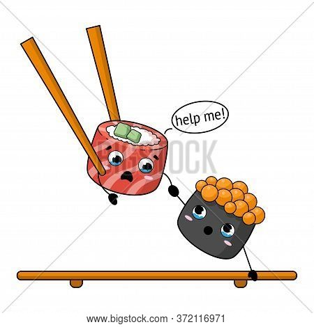 Funny Illustration Of Roll Philadelphia, Sushi With Caviar And Wooden Chopsticks. Japanese Food, Kaw