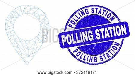 Web Mesh Map Marker Pictogram And Polling Station Watermark. Blue Vector Round Textured Stamp With P