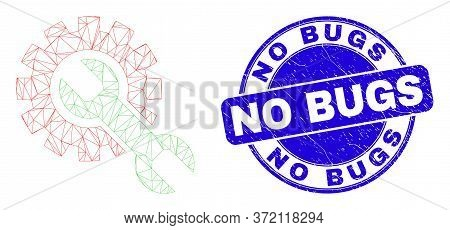 Web Mesh Setup Tools Pictogram And No Bugs Seal Stamp. Blue Vector Round Scratched Stamp With No Bug