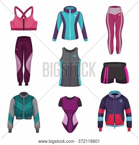 Gym Clothing Or Athletic Apparel With Sports Trousers And Shorts Vector Set