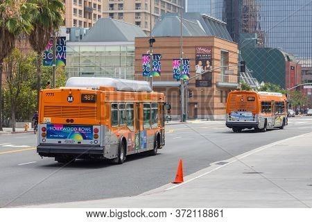 Los Angeles, California, Usa- 11 June 2015: City Bus On The Streets Of Los Angeles. Public Transport