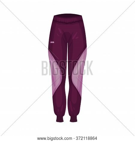 Elastic And Tight Sports Trousers As Fashionable Track Womenswear Vector Illustration