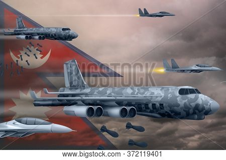 Nepal Bomb Air Strike Concept. Modern Nepal War Airplanes Bombing On Flag Background. 3d Illustratio