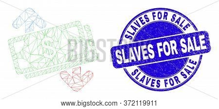 Web Carcass Banknotes Exchange Arrows Pictogram And Slaves For Sale Watermark. Blue Vector Round Tex