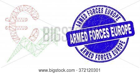 Web Mesh Euro Growing Trend Pictogram And Armed Forces Europe Stamp. Blue Vector Round Distress Seal