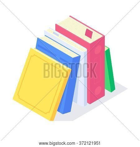 Isometric Textbook University Education Science Study University Teaching Learn Knowledge Vector Ill