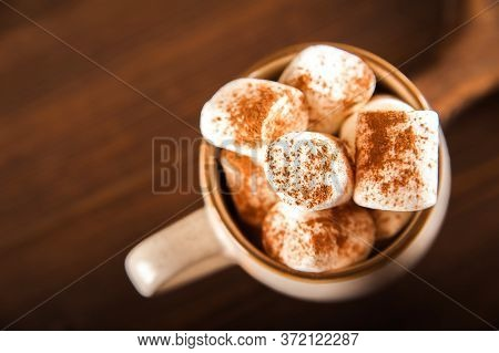 Concept With Marshmallows In A Circle On A Dark Background. Autumn, Coffee, Tea, Mug, Marshmallows,