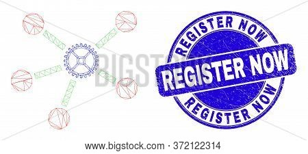 Web Mesh Gear Links Icon And Register Now Seal Stamp. Blue Vector Round Grunge Seal Stamp With Regis