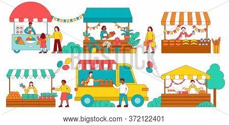 Six Colorful Scenes Of A Stalls At A Fair Selling Assorted Food And Plants With Vendors And Customer