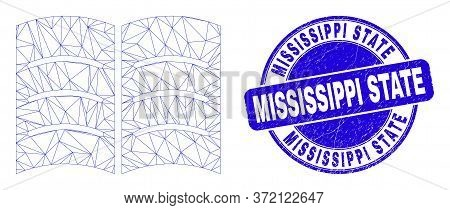 Web Mesh Open Book Icon And Mississippi State Stamp. Blue Vector Round Textured Seal Stamp With Miss