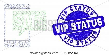 Web Carcass Phone Sms Cloud Icon And Vip Status Seal. Blue Vector Rounded Textured Seal With Vip Sta