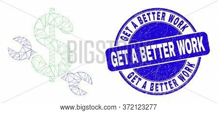Web Mesh Repair Price Icon And Get A Better Work Seal Stamp. Blue Vector Round Grunge Seal With Get