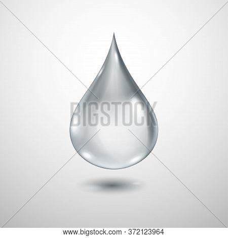 One Big Realistic Translucent Water Drop In Gray Colors With Shadow