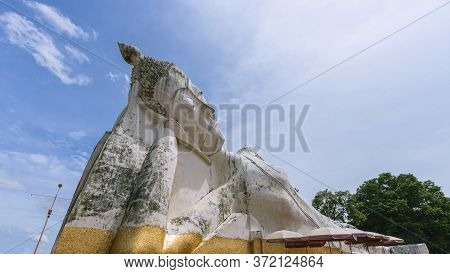 Large Buddha Statue At Satue Temple In Phra Nakhon Si Ayutthaya Province In Thailand