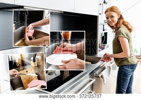 Of Smiling Woman Cleaning Worktop And Washing Cleaning Tableware In Kitchen