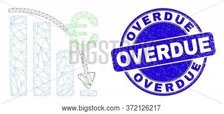Web Carcass Euro Crisis Chart Icon And Overdue Seal Stamp. Blue Vector Rounded Distress Seal Stamp W