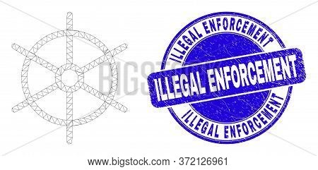 Web Carcass Ship Rule Wheel Icon And Illegal Enforcement Watermark. Blue Vector Round Grunge Waterma