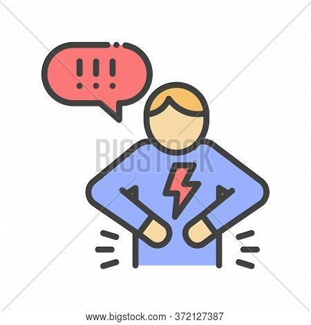 Man With Acute Pain In Stomach. Sign For Web Page, Mobile App, Button, Logo. Vector Isolated Element